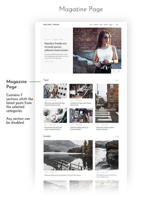 Melina WordPress Theme preview.