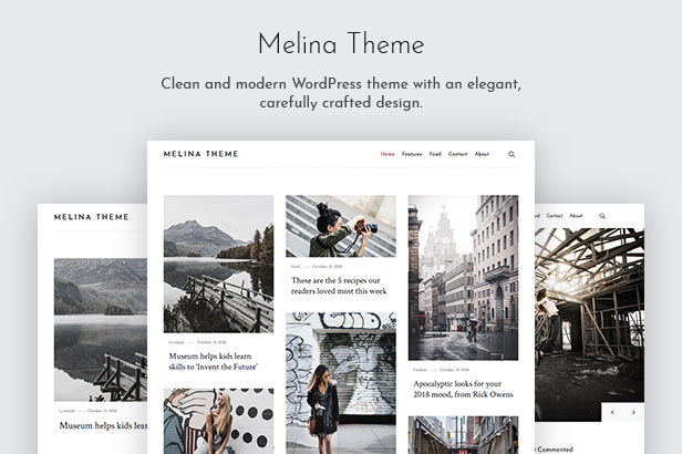 Melina WordPress Theme banner.